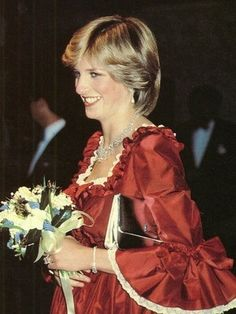 """March Prince Charles and Princess Diana attend a Royal Gala performance of """"The Night of Knights"""" at the Barbican Centre, London, England. Diana wearing a red gown trimmed with cream lace. Princess Diana Photos, Princess Diana Fashion, Princes Diana, Princess Charlotte, Charles And Diana, Prince Charles, Royal Princess, Princess Of Wales, Night Of Knights"""