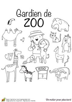Le métier de gardien de Zoo à colorier Social Studies, Doodles, Snoopy, Education, Comics, Books, Fictional Characters, Zero Waste, French