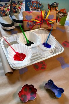 Create homemade PAW Patrol wrapping paper with just some cookie cutters and paint!