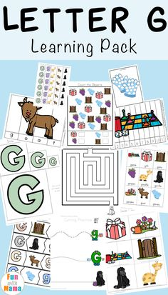 JOIN ME:  https://www.pinterest.com/francillafreema/back-to-school/ Free printable letter g activities, worksheets, crafts and learning pack. via @funwithmama
