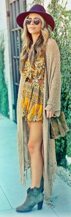 boho style perfection / hat + long cardi + printed jumpsuit + bag + boots