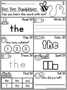 JOURNEYS 2014 KINDERGARTEN - SIGHT WORDS FREEBIE - TeachersPayTeachers.com