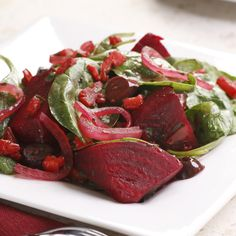 Warm Beet and Spinach Salad  i love beets :D i may be the only one eating this...