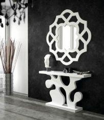 Cosas de Casa Muebles - what a fun look for an entry way or hallway Cardboard Furniture, Diy Furniture, Furniture Design, Cnc Cutting Design, Entrance Table, Sunburst Mirror, Mirror Art, Mirrors, Door Design