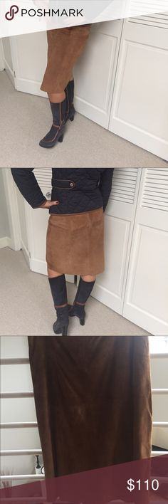 Michael Kors suede leather skirt (size 4) Michael Kors 100% genuine suede leather, camel color, knee length skirt. Great with boots, the high quality leather makes for a rich elegant look. KORS Michael Kors Skirts A-Line or Full