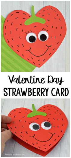 This Strawberry Valentine Day Card is a super sweet card kids can make this Valentine's Day for family, teachers, or friends. #valetineday #kidcraft #kidscrafts #craftsforkids