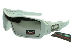 Oakley Oil Rig Sunglasses Slate Iridium Lens Polished White Silv
