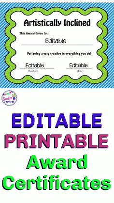"Editable, Printable Classroom Awards! Choose from 45 character traits and academic accomplishments to celebrate your students in a positive manner with these unique and creative end of the year award certificates. Encourage positive behavior all through the year! Click inside each ""editable"" text box to personalize. #Editableawardsandcertificates #DistanceLearning #endofyearawards #editableawardsandcertificates #classroomawards #teacherfeatures #tpt #2ngrade #3rdgrade"