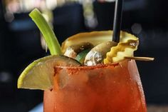 "The 1001 Bloody Mary,  AKA ""The Salazar"", made with with Absolute Peppar, Sriracha, with house made green chilie and house made tomatillo $3.50 for Sunday Brunch and Tuesdays, Reg. $10.00 from 10-01 Food and Drink, located at 1001 Broad Ripple Ave. Indianapolis.  (Michelle Pemberton/The Star)"