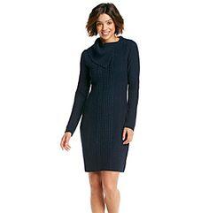 Calvin Klein Asymmetrical Neck Sweater Dress, Navy