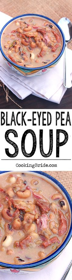 Black-eyed pea soup with slowly simmered ham hocks and vegetables. Slightly spicy, it's the perfect soup for cooler weather.