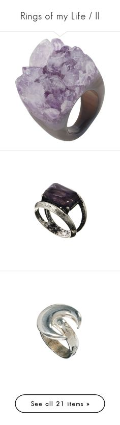 """""""Rings of my Life / II"""" by willoz on Polyvore featuring jewelry, rings, accessories, fillers, purple, purple ring, amethyst jewellery, amethyst stone ring, drusy jewelry et amethyst jewelry"""