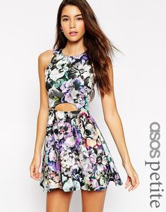 ASOS+PETITE+Skater+Dress+in+Pansy+Print+with+Cut+Out