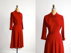 vintage 1940s dress // red rayon day dress Medium, $138
