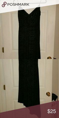 Black Velvet  Dress w/angle hem V bra-like front velvety crush material Betsy & Adam Dresses Asymmetrical