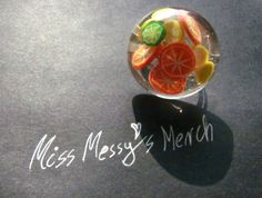 Citrus mix adjustable resin ring with orange, lemon and lime slices