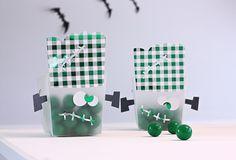 Easy DIY Foil Frankenstein Favor Boxes | @kimbyers #HalloweenIdeas