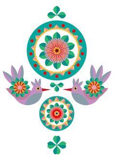 Folk Art Flowers - HIgh quality print of an orginal illustration