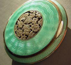 Vintage Guilloche Enamel Sterling Compact