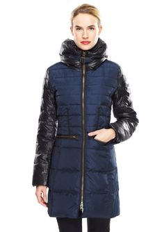 Zip Front Quilted Down Coat Mid-length down coat; Allover quilted stitch detailing; Colorblock pillow stand collar with faux leather strap-and-buckle closure; Colorblock long sleeves with ribbed knit cuffs; Colorblock grosgrain trim detailing; Front zippered pockets; Flattering princess seams; Full front zipper closure; Fully lined PillowWomen #Outerwear