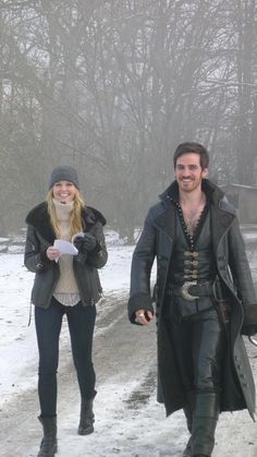Jennifer Morrison and Colin O'Donoghue on the set of Once Upon A Time