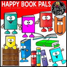 This is a collection of books with personality! The books have arms and legs and a face or just eyes. The collection also contains a sleeping book, books from different perspectives and a bookshelf. 22 images (11 in color and the same 11 in B&W) This set contains all of the images shown. School Counselor Office, Different Perspectives, Image Shows, Arms, Clip Art, Comics, Happy, Books, Personality