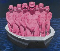 egos in a boat by Yue Minjun Chinese Contemporary Art, Contemporary Paintings, Chinese Painting, Chinese Art, Yue Minjun, Ego Tripping, Art Chinois, Weird Dreams, A Level Art