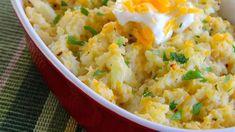 Loaded Cauliflower Recipe For Loaded Cauliflower, Garlic Mashed Cauliflower, Cauliflower Casserole, Creamy Potato Salad, Cooking Recipes, Healthy Recipes, Veggie Recipes, Meal Recipes, Healthy Meals