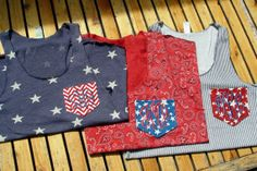 Personalized Patriotic Tank, Eco-friendly, American Flag Pocket Tank Top, Red, White and Blue