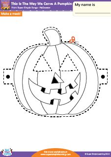 """This Is The Way We Carve A Pumpkin"" Make A Mask! Halloween Worksheet from Super Simple Learning. #preK #kindergarten #earlyelementary #ESL"
