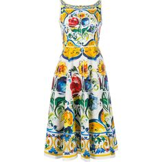 Dolce & Gabbana Sleeveless Maiolica Print Cotton Dress ($2,105) ❤ liked on Polyvore featuring dresses, red dress, a line cocktail dress, red midi dress, a line dresses and special occasion dresses