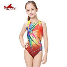 Yingfa children training swimwear kids swimming racing suit competition swimsuits girls professional swim solid child