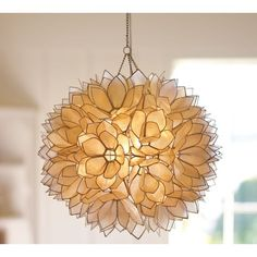 Pottery Barn Capiz Flower Pendant featuring polyvore, home, lighting, ceiling lights, flower lights, plug in hanging lights, capiz hanging lamp, pottery barn lighting and lotus flower lamp