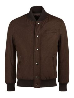 Suitsupply Brown Wool Bomber Jacket