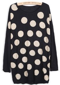 just bought this ADORABLE Black Long Sleeve Polka Dot Loose T-Shirt - Sheinside.com  ..will be perfect to mix and match with outfits for fall and winter!