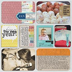 bright colors, full insert for big story, arrow, tag