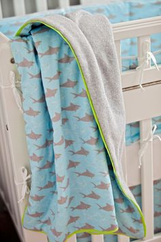 Custom baby bedding - Niko's Sharks  www.fishlipspaperdesigns.com