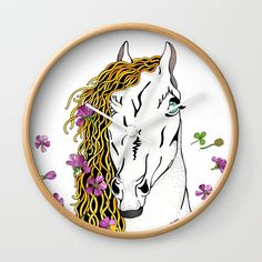 Horse  In Wild Flowers Wall Clock by Salome | Society6