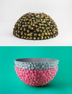 colored resin tableware, dishes, vases and bowls inspired by fruits
