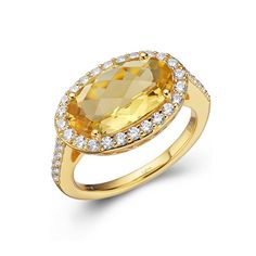 10K YELLOW GOLD 2.20 CARAT NATURAL CITRINE /& DIAMOND RING SIZE 6.75 RING BOX