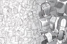 This sketch exploration by Ziba designer Sam Amis shows a broad, rapid exploration of gestures for a snowboard-carrying backpack. Id Design, Sketch Design, Design Concepts, Graphic Design, Sketch Inspiration, Design Inspiration, Sick Drawings, Thumbnail Sketches, Conceptual Drawing