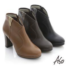$2980-A.S.O 網路獨家 全真皮貼鑽奈米粗跟短靴 黑 - Yahoo!奇摩購物中心(黑缺5.5/6.5/8)