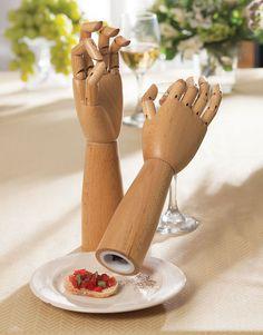 Salt and Pepper Mills Designed as Articulated Hands Inspired by Artist Manikins