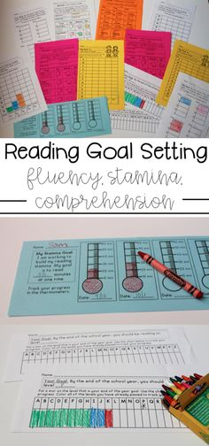 Reading goal setting printables for fluency, level, comprehension, and more! Perfect for readers response notebooks and student led conferences.