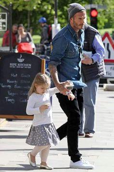 David Beckham and his daughter Harper Seven