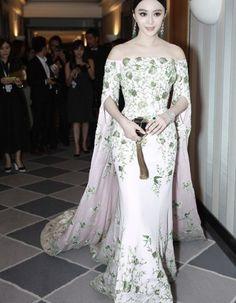 >> Click to Buy << Cannes Film Festival BingBing Fan Mermaid Celebrity Dresses Emboridery Elegant Half Sleeve Long Train Red Carpet Dresses ZY3400 #Affiliate