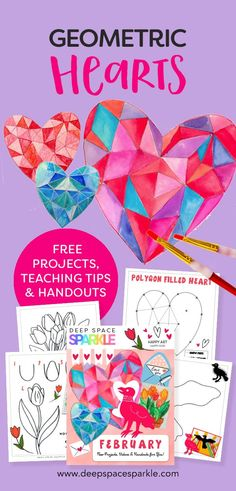 Geometric Hearts Valentine's Day Project - DSS Valentines Art, Valentines Day Activities, Art Lessons For Kids, Art For Kids, Art Handouts, Deep Space Sparkle, Geometric Heart, Easy Art Projects, Shape Art