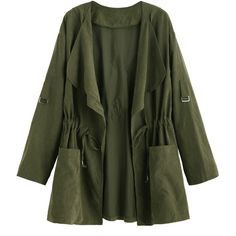 Olive Green Drape Collar Drawstring Coat (3.19 PEN) ❤ liked on Polyvore featuring outerwear, coats, green coat and drawstring coat
