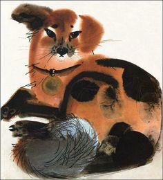 "Alfred Könner, ""Bilderzoo"" by Illustrator Mirko Hanák Art And Illustration, Illustration Children, Animal Illustrations, Watercolor Animals, Watercolor And Ink, Painting Inspiration, Art Inspo, Animal Sketches, Animal Paintings"