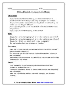 Comparecontrast Essay Outline  Google Search  Education  Thesis  Compare  Contrast Checklist